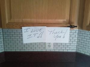 Installed tile backsplash