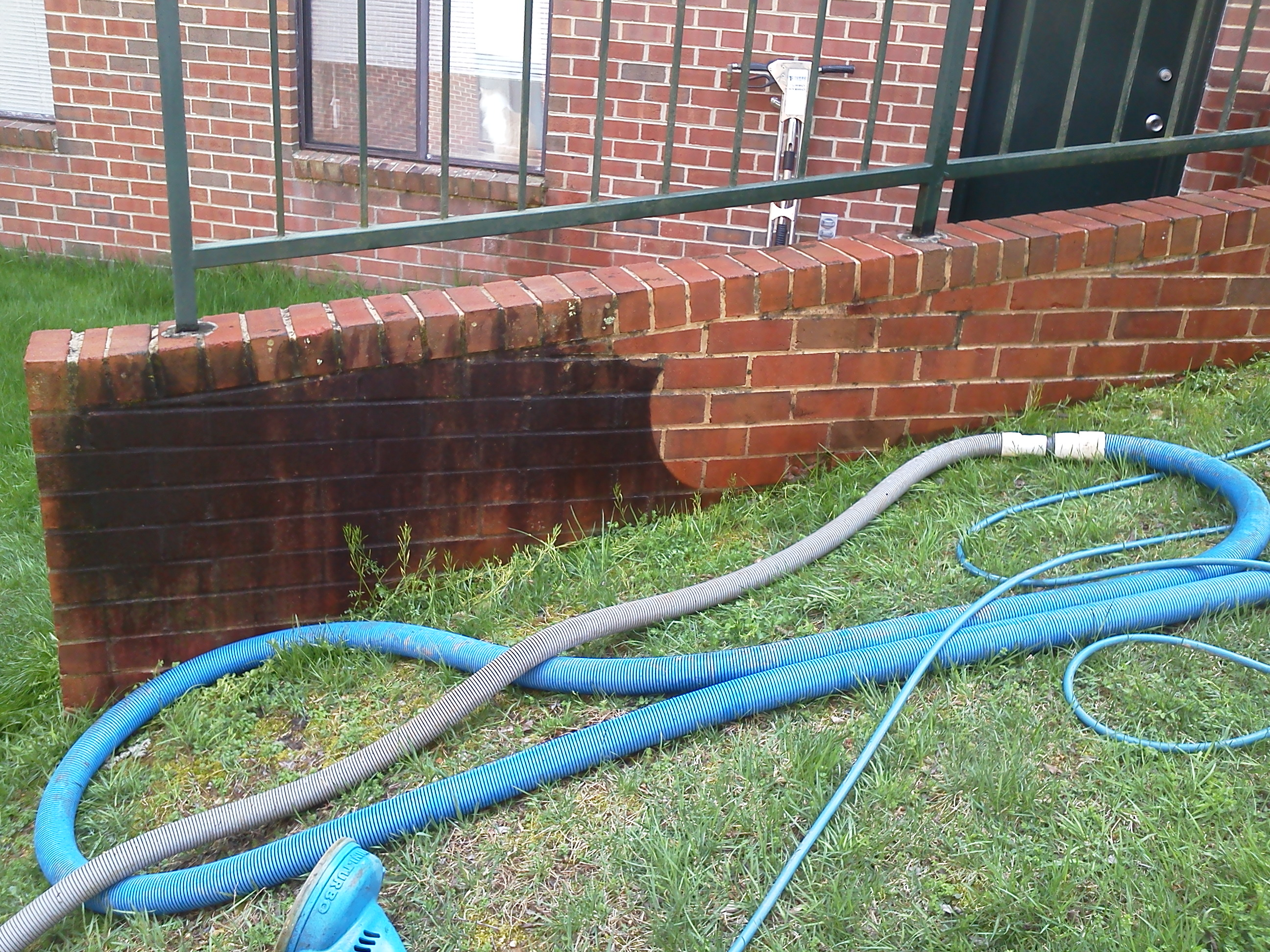 Brick wall cleaning