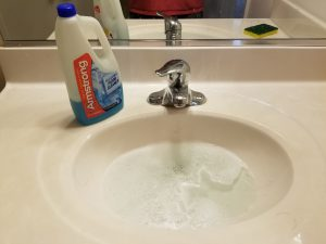 Just a capfull of Armstrong floor cleaner is all you need, right in the sink!